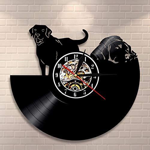 NUYI Black Puppy Pets Disco de Vinilo CD Arte de Pared Reloj de Pared Disco de Vinilo Vintage Reloj de Pared LP Estilo Perrito Decoración para el hogar Regalo para Amantes de los Perros