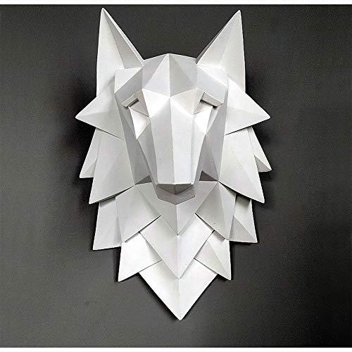 QWERWEFR Dekoration Zubehör Wolf Kopf Skulptur Wand Hängen Dekor Nordic 3D Statue Wohnzimmer Wandbild Kreative Bar Cafe Kunsthandwerk,A