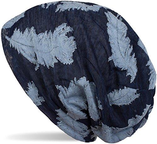 styleBREAKER Beanie Mütze mit gewebtem Feder Muster, Slouch Longbeanie, Unisex 04024130, Farbe:Dunkelblau