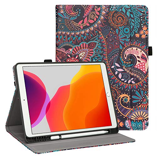 HAPPIERE iPad 7th Generation Case with Pencil Holder, Premium PU Leather Folio Cover for Apple iPad 10.2 inch Retina Display, Auto Wake and Sleep, Magnetic Closure, Multiple Viewing Angles Stand Case