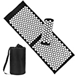 Acupressure Mat and Pillow Set with Bag - Large Size 49.2 X 16.9 inch Massage Body Acupuncture Mat - Naturally Relax Back, Neck and Feet Muscles - Stress and Pain Relief (Black)