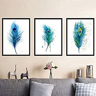 Watercolor Peacock Tail Feather Canvas Print, Wall Art, Poster, Airbnb Home Decor. Sofa / Cafe / Office / Hotel Painting, Housewarming Gift. 3pcs. Unframed. (30 x 40 cm / 11.8 x 15.7 in)