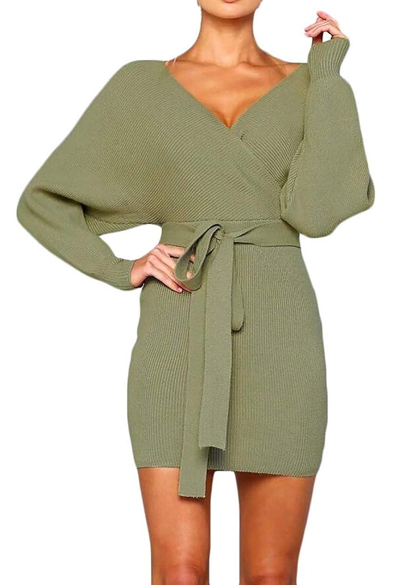 Joe Wenko Womens Sexy Sweater Knit Belted Slim Fit V Neck Cross Mini Dress