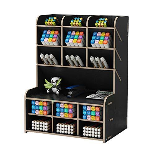 [シャンディニー] 卓上収納ラック デスク上置棚 オーガナイザー ペン立て 木製 ペンホルダー ブラック