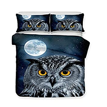 Kids 3D Bedding Set Owl Print King Duvet Cover Lifelike Bedclothes with Pillowcase Home Textile for Children Twin Queen Quilt Cover  Only Two 50x75cm Pillowcases