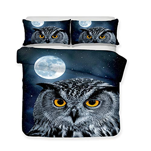 DANNI 3D-Bettwäsche-Set mit Eulenmotiv, lebensechte Bettwäsche mit Kissenbezug, Heimtextilien, Doppelbettgröße, Queen Eule Only Two 50x75cm Pillowcases grau
