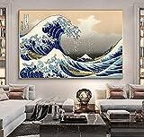 Pinturas en lienzo de onda japonesa Kanagawa, carteles artísticos de pared e impresiones, cuadros de pared para la decoración del hogar de la sala de estar, 60x95cm sin marco