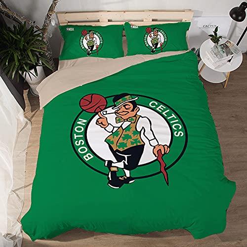 NBA Team Boston Celtics Logo Patrón Funda edredón suave Juegos 3 piezas Funda nórdica impresa 3D 2 fundas almohada Juegos ropa cama microfibra para fanáticos baloncesto Decoración habitación los niños