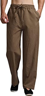 Mens Linen Pants Drawstring Summer Long Casual Elastic Waist Loose Fit Beach Pants