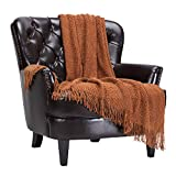 Chanasya Textured Knitted Rust Brown Throw Blanket with Tassels - Soft Bohemian Farmhouse Chic Accent Throws - Decorative for Sofa Couch Bed Living Room Camel Brown (50x65 Inch) Boho Cashew Blanket