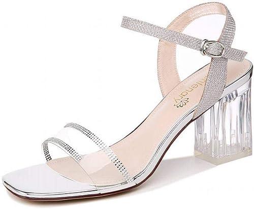 LTN Ltd - sandals Sandales Transparentes Femme Cristal avec Fée Vent Mode été Chaussures Femmes, Rose, 35