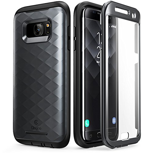Clayco - Custodia rigida per Galaxy S7 Edge, serie Hera, con pellicola protettiva integrata per Samsung Galaxy S7 Edge (versione 2016), colore: Nero