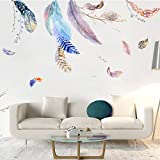 SKays Wandaufkleber Nordic Ins Wandsticker Tropische Pflanzen Blume Feder Wandaufkleber Wandtattoos Home Decoration für Wohnzimmer Schlafzimmer,45X60cm