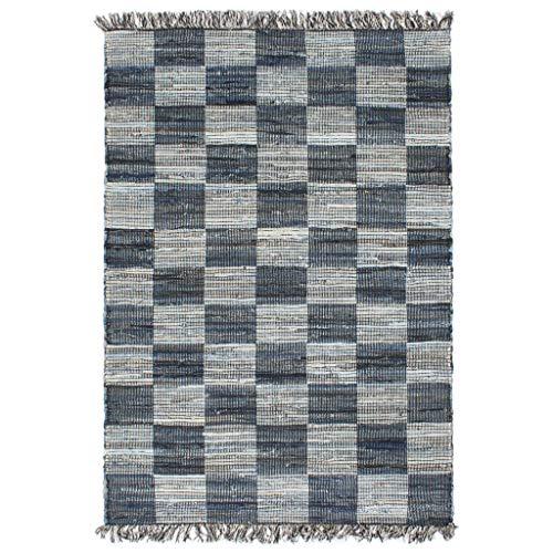 Alfombra tejida a mano Chindi Denim 120 x 170 cm, color azul