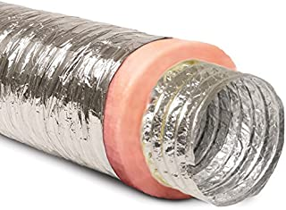 """6"""" Inch Aluminum Hose Flexible Insulated R-8.0 Air Duct Pipe for Rigid HVAC Flex Ductowrk Insulation - 25` Feet Long"""