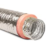 16' Inch Aluminum Hose Flexible Insulated R-8.0 Air Duct Pipe for...