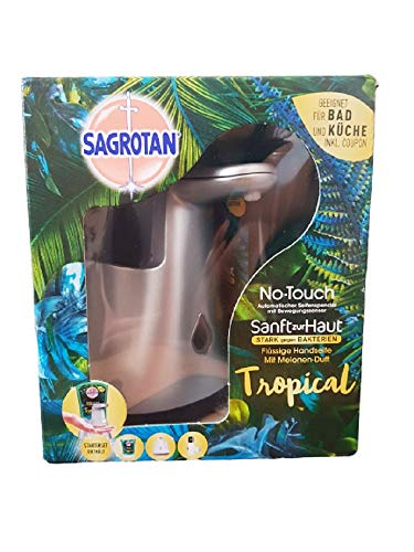 Sagrotan No-Touch Automatischer Seifenspender weiß– Inkl. Sagrotan Nachfüller Tropical – 1 x 250 ml Flüssigseife