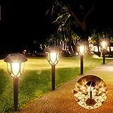 Solar Garden Lights, Biliq LED Solar Pathway Lights Outdoor 6 Pack Waterproof IP44