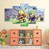 Wondbeau Impression sur Toile Cinq Tableaux Consécutifs Décoration De Maison Moderne Peinture 5 Panneaux Abstraits Modulaire Poster avec Cadre XL/200cm×100cm Pokemon Anime Pikachu