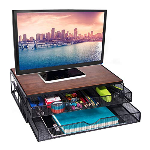 Comix Monitor Stand Riser with Drawer, Wooden Tabletop Metal Mesh Desk Organizer with Dual Pull Out Storage Drawer for Office, Home, Computer, PC, Laptop, Brown, 16 x 12 x 4 Inches, (B2525)
