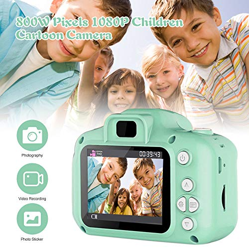 Godyluck 800W Niños Cámara Mini Digital Cartoon Cute USB Videocámara Recargable Video para Niños Niños Bebé Portátil
