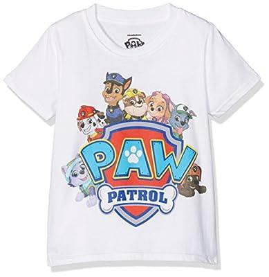 Paw Patrol Shield Characters Camiseta, Blanco (Blanco), 5-6 Años para Niños de Paw Patrol