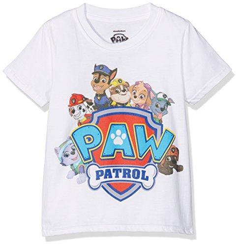 PAW PATROL Jungen Shield Characters T-Shirt, Weiß (White), 3-4 Jahre (Hersteller Größe:XS)