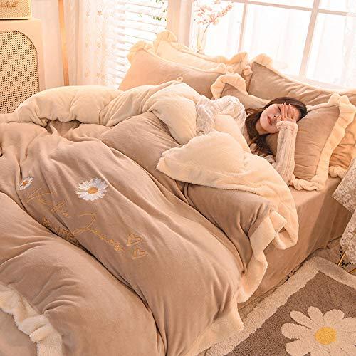 geek cook Bedding Set,2020 Milk Velvet Coral Velvet Fleece Four-piece Set Cartoon Flannel Bed Velvet Sheet Crystal-Flower-rice coffee_1.5 m