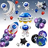 UFO Outer Space Decorations Party Supplies Foil Balloons Boy Birthday Baby Shower Chrome Blue Black Galaxy Astronaut Airship Space Theme Baby Shower (Blue)