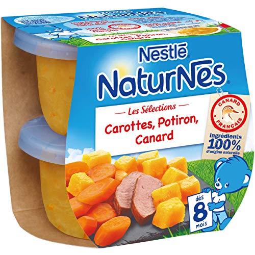 NESTLE NATURNES Les Sélections Petits Pots Bébé Carottes, Potiron, Canard - Dès 12 mois - 2X200g - Pack de 8 ( 16 Pots )