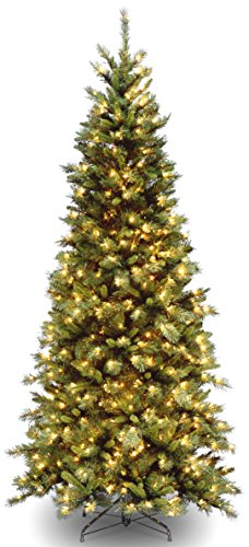 National Tree Company Pre-lit Artificial Christmas Tree | Includes Pre-strung White Lights and Stand | Tiffany Fir - 7.5 ft