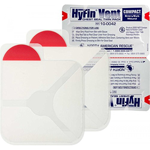 North American Rescue Genuine NAR HyFin Vent Compact Chest Seal Twin Pack