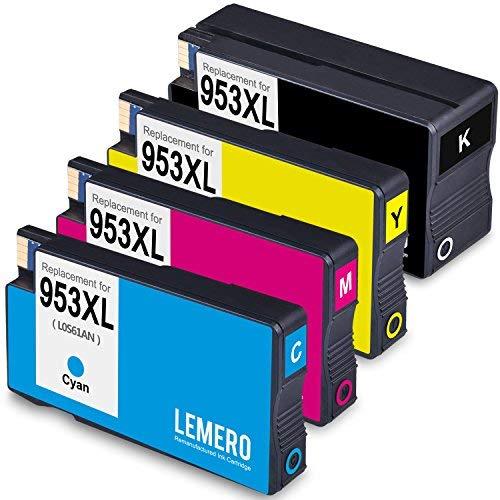 LEMERO 4 Wiederaufbereitet Druckerpatronen für HP 953 XL 953XL für HP OfficeJet Pro 8210 8218 8710 8715 8718 8719 8720 8725 8728 8730 8740 7720 7720 7740 wf All-in-One