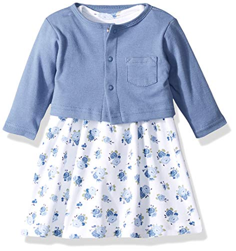 Luvable Friends Baby Girls Dress and Cardigan Set, Blue Floral, 2 Toddler
