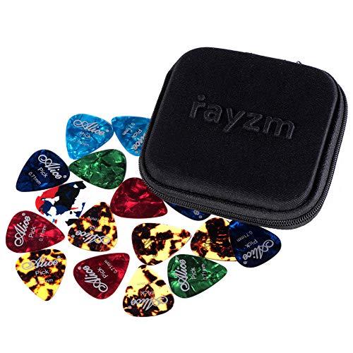 Rayzm Plettri Plectrum per Chitarra (Guitar plectrum Picks) 40 pcs, Premium Assorted Celluloide Picks per chitarra Basso di diversi colori e 6 diversi spessori 0,46/0,71/0,81/0,96/1,20/1,50mm