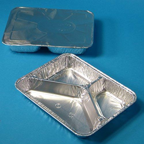 500 Aluschalen Assietten Aluminiumschalen Aluminium Menüschalen ECO dreigeteilt 3-geteilt flach 227x177x30mm mit Alu Deckel