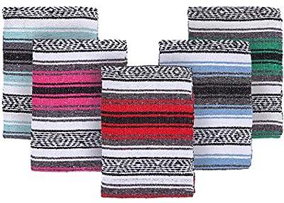 El Paso Designs Mexican Yoga Blanket | Colorful Falsa Serape |Park Blanket, Yoga Towel, Picnic, Beach Blanket, Patio Blanket, Soft Woven Saddle Blanket, Boho Home Décor