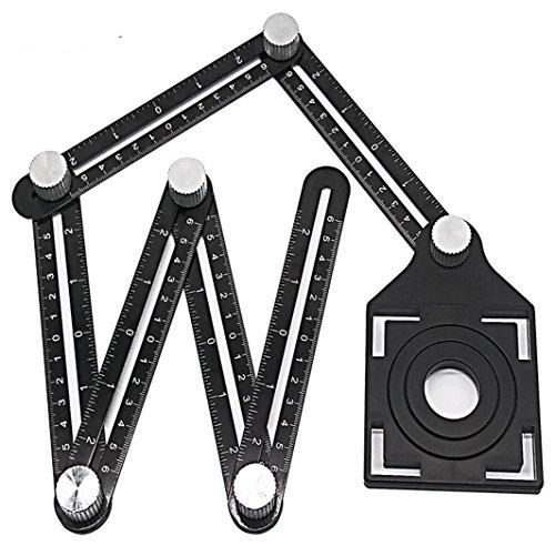 Regla multi ángulo de medición, herramienta profesional multifuncional de aleación de aluminio, regla plegable con herramienta de posicionamiento ajustable para madera de cerámica
