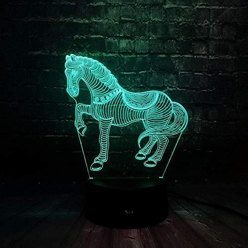 Bedro Acryl Home Decoration dier paarden nachtlampje eettafel Emotion Lava 16 kleuren USB oplaadbare LED hoogglans batterij Power kinderen verjaardagscadeau 3D illusie nachtlampje kinderen