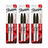 Sharpie Permanent Markers, Fine Point, 3 Packs of 2 -6 Total (Black) offer pens Mar, 2021