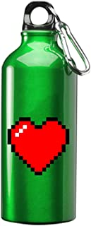 Hat Shark 8-Bit Heart Video Game 3D Color Printed 17 oz Stainless Steel Water Bottle Green