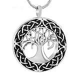 LQLQ Urna Pendientes de Moda Pet Memorial Collar Redondo urna árbol del Dinero,Silver