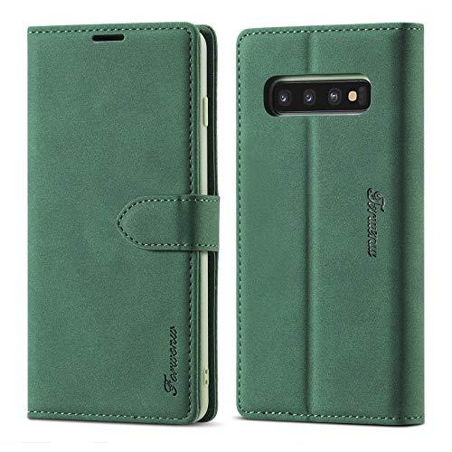LOLFZ Hülle für Samsung Galaxy S10E, Premium Leder Handyhülle mit Kartenfach Ständer Magnetische Schutzhülle Kompatibel mit Galaxy S10E - Grün