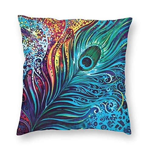 ~ Amazing Peacock.Png Home Decor Throw Pillow Cover, Lightweight Soft Plush Square Decorative Pillow Case 18x18 Inch Cushion Cover, Sham Stuffer, Machine Washable