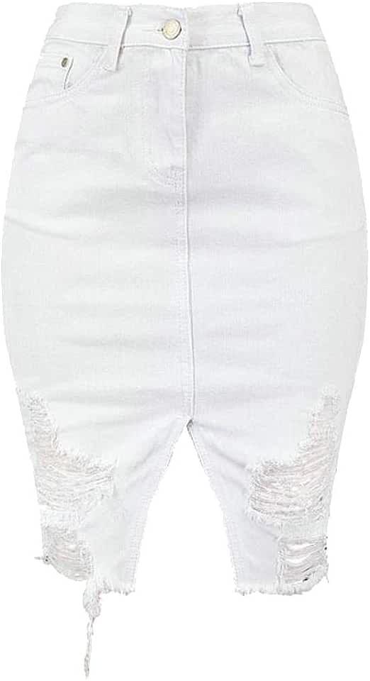 C&H Women Bodycon Ripped Hole Raw Hem High Waist Stylish Slit Denim Skirts