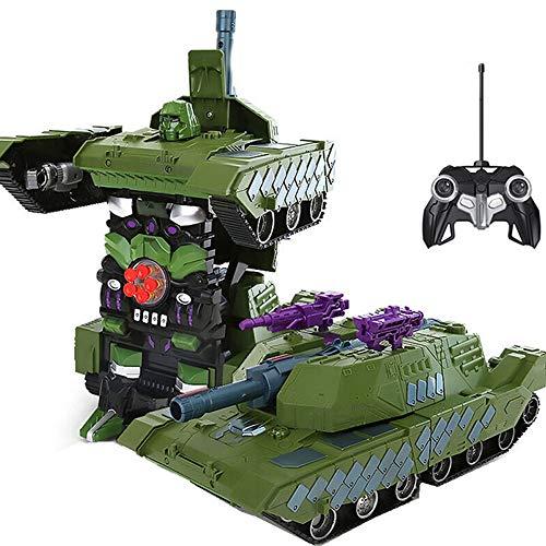 Kikioo RC rastreadores carro 360 ° de rotación del truco vehículo 1:26 control remoto principal tanque de batalla de doble modo de detección de gestos Transformador de robot de luz y sonido Niños jugu