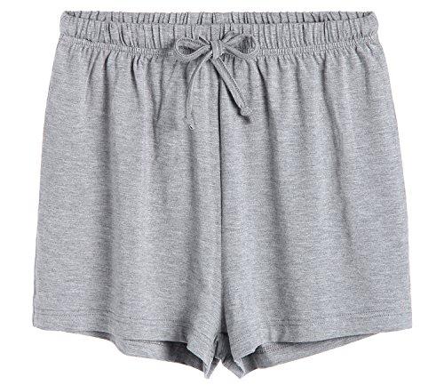 Latuza Women's Boxer Shorts Pajama Bottoms 2X Plus Light Gray