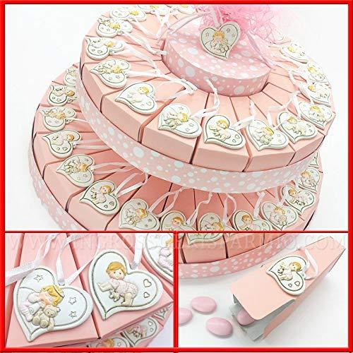 Ingrosso e Risparmio Schön und schonen Sie Gastgeschenke für Süßigkeiten, Rosa aus Karton, mit Herzen, Applikationen und Stärkung eines Mädchens. 18 Fette (F) Confetti Verdi