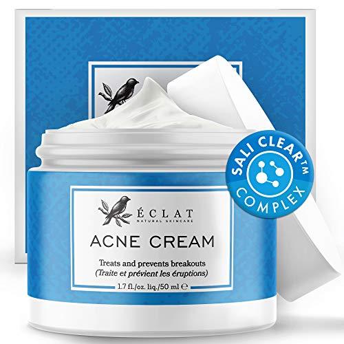 Akne Creme von Eclat - Natürlich Wirksame Ascorbinsäure Anti Pickel Creme - Entfernt Hautflecken, Unreinheiten und Mitesser - Feuchtigkeitsspendend und geeignet für empfindliche Haut