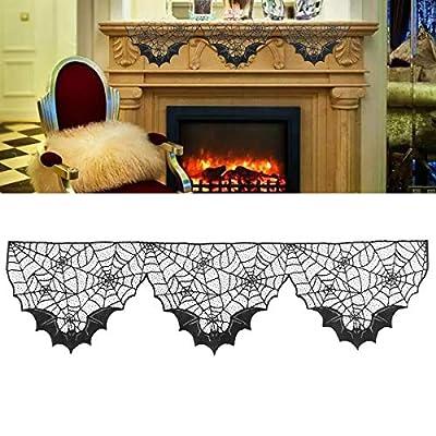 BinaryABC Halloween Decoration,Halloween Black Lace Spiderweb Bat Lace Spiderweb Fireplace Mantle Scarf Cover,Halloween Fireplace Decorations from BinaryABC